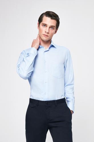 Ds Damat Regular Fit Mavi Armürlü Gömlek - 8682445099393 | D'S Damat