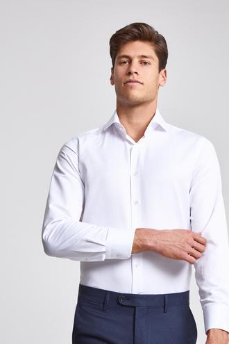 Ds Damat Slim Fit Beyaz Armürlü Gomlek - 8681779777281 | D'S Damat