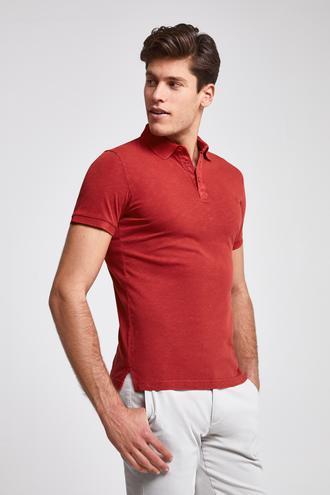 Ds Damat Slim Fit Kırmızı Pike Dokulu T-shirt - 8682445309423 | D'S Damat