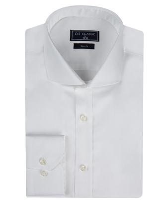 Ds Damat Slim Fit Beyaz Düz Gömlek - 8681779842774 | D'S Damat