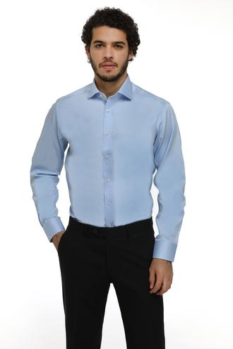 Ds Damat Regular Fit Mavi Düz Nano Care Gömlek - 8682445048490 | D'S Damat