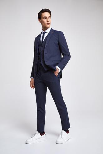 Twn Slim Fit Slim Fit Lacivert Düz Yelekli Takim Elbise - 8681779871514 | D'S Damat
