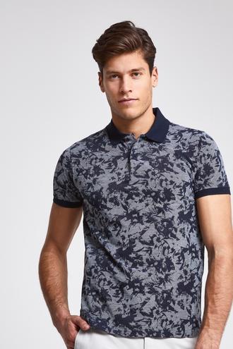 Ds Damat Slim Fit Lacivert Baskılı T-shirt - 8681779874584 | D'S Damat