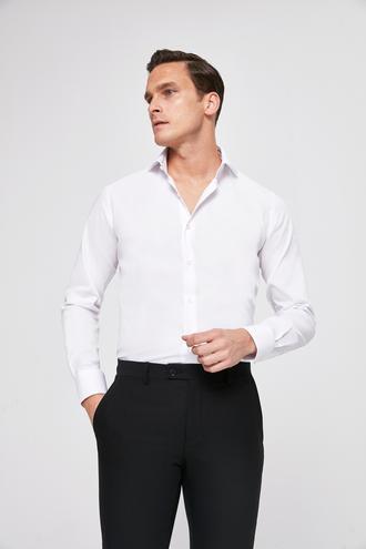 Ds Damat Slim Fit Beyaz Armürlü Gömlek - 8681779915423 | D'S Damat