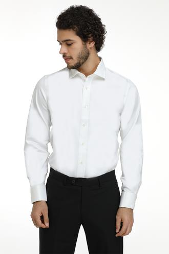 Ds Damat Slim Fit Beyaz Düz Gömlek - 8681779990291 | D'S Damat
