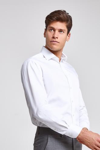 Ds Damat Regular Fit Beyaz Düz Nano Care Gömlek - 8682445048438   D'S Damat