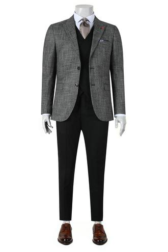 Twn Slim Fit Slim Fit Antrasit Armürlü Yelekli Takim Elbise - 8681779892502 | D'S Damat