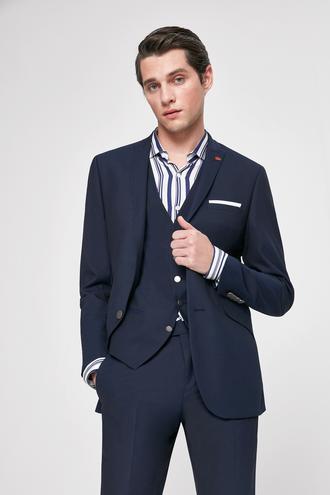 Twn Slim Fit Lacivert Armürlü Yelekli Takım Elbise - 8682060921642   D'S Damat