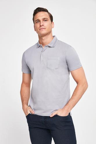 Ds Damat Regular Fit Gri Pike Dokulu T-shirt - 8682445308785 | D'S Damat