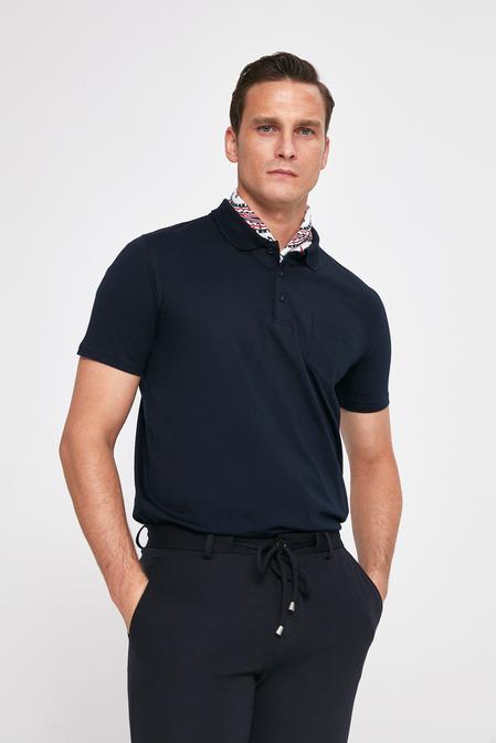 Ds Damat Regular Fit Lacivert Pike Dokulu T-shirt - 8682445308952   D'S Damat