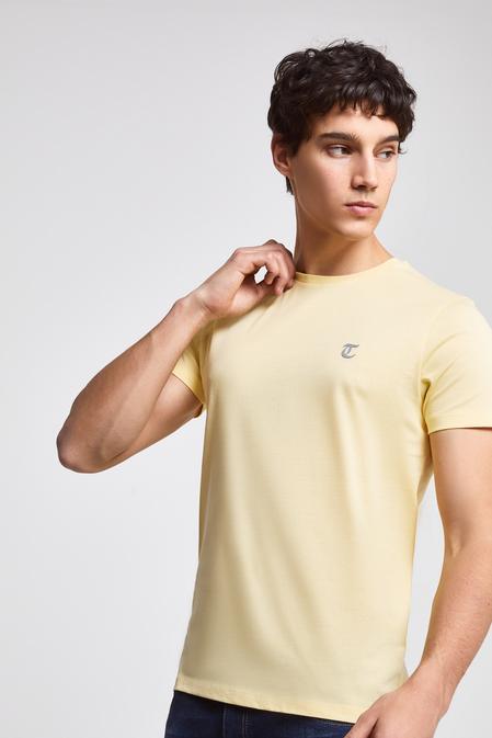 Twn Slim Fit Sarı Düz T-shirt - 8682060049315   D'S Damat