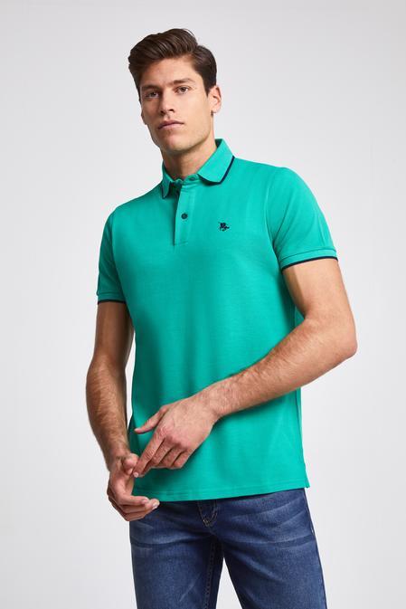 Ds Damat Regular Fit Yeşil Pike Dokulu T-shirt - 8682060051110 | D'S Damat