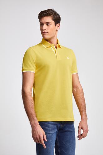 Ds Damat Regular Fit Sarı Pike Dokulu T-shirt - 8682060051400 | D'S Damat