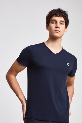Twn Slim Fit Lacivert Düz T-shirt - 8682060051707 | D'S Damat
