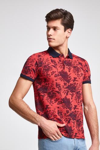 Ds Damat Slim Fit Nar Çiçeği Baskılı T-shirt - 8681779875451 | D'S Damat