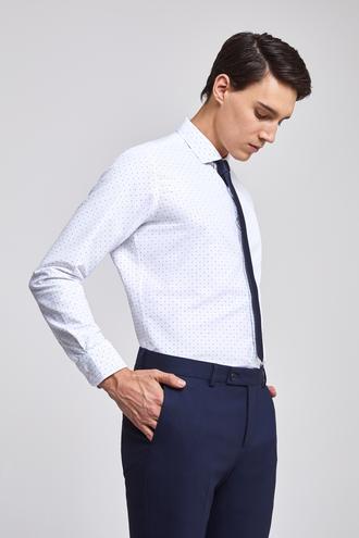 Twn Slim Fit Beyaz Baskılı Gömlek - 8682060773272 | D'S Damat