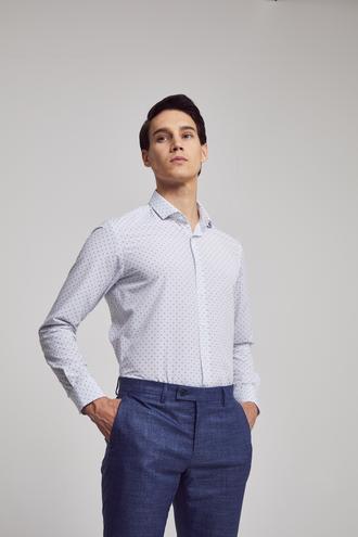 Twn Slim Fit Beyaz Baskılı Gömlek - 8682060773166 | D'S Damat