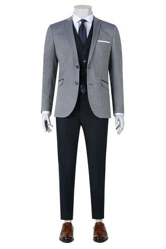 Twn Slim Fit Slim Fit Lacivert Yelekli Takim Elbise - 8681779892885   D'S Damat