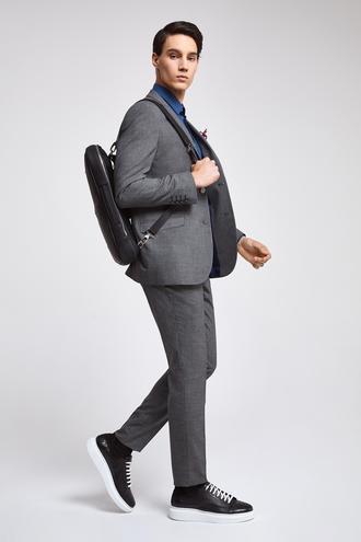 Twn Slim Fit Slim Fit Antrasit Armürlü Takim Elbise - 8682060077844 | D'S Damat