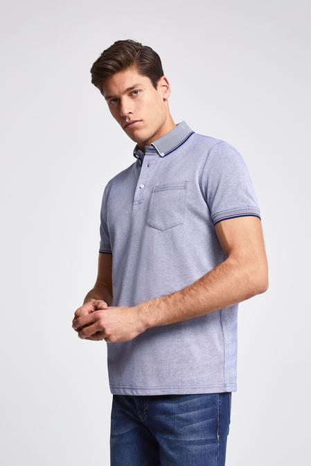 Ds Damat Regular Fit Mavi Pike Dokulu T-shirt - 8681779872825 | D'S Damat