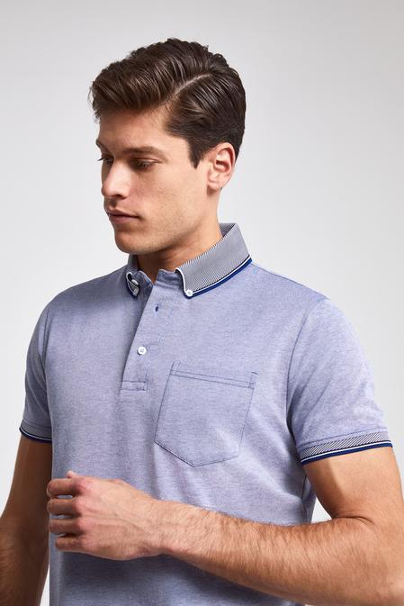 Ds Damat Regular Fit Mavi Pike Dokulu T-shirt - 8682060082091 | D'S Damat