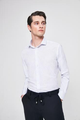 Twn Slim Fit Beyaz Baskılı Gomlek - 8682060087393 | D'S Damat