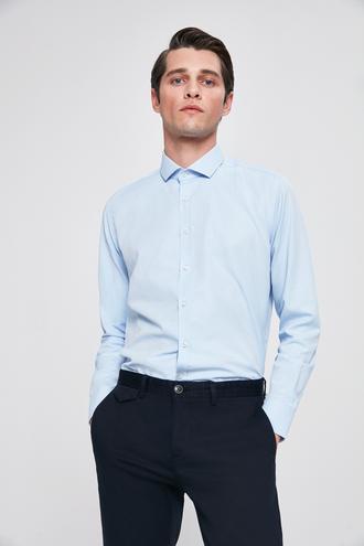 Twn Slim Fit Mavi Baskılı Gomlek - 8682060087966 | D'S Damat