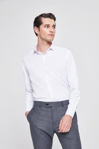 Twn Slim Fit Beyaz Baskılı Gomlek - 8682060088048 | D'S Damat