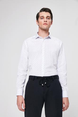 Twn Slim Fit Beyaz Baskılı Gomlek - 8682060088529 | D'S Damat