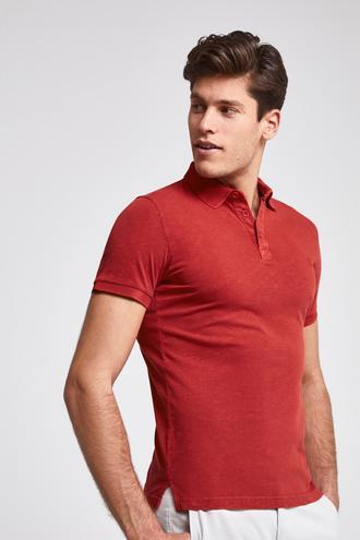 Ds Damat Slim Fit Kırmızı Pike Dokulu T-shirt - 8682060090935   D'S Damat