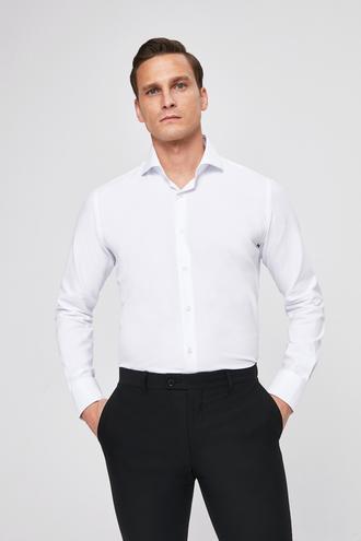 Slim Fit Beyaz Armürlü - 8682445104615 | D'S Damat