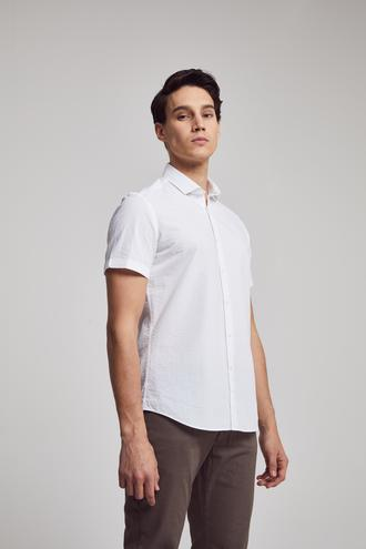 Twn Slim Fit Beyaz Düz Gofre Gömlek - 8682445332544 | D'S Damat