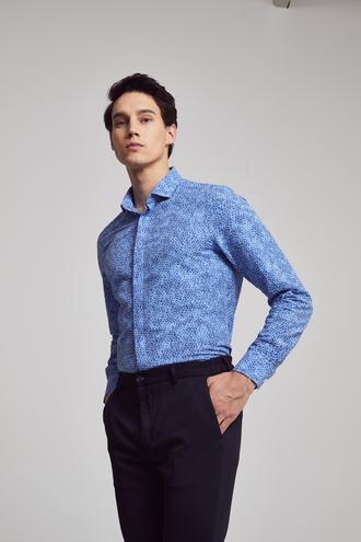 Twn Slim Fit Mavi Baskılı Gomlek - 8682060103543 | D'S Damat