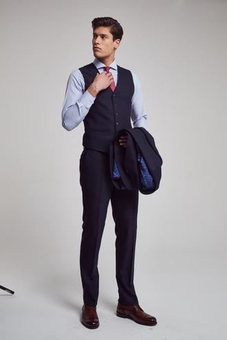 Ds Damat Slim Fit Slim Fit Lacivert Yelekli Takim Elbise - 8682060133809 | D'S Damat