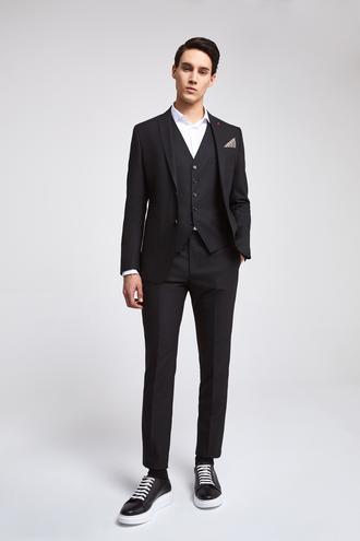 Twn Slim Fit Siyah Düz Yelekli Takım Elbise - 8682445303377   D'S Damat