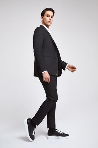 Twn Slim Fit Siyah Düz Yelekli Takım Elbise - 8682060776679 | D'S Damat