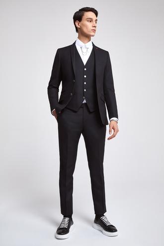Twn Slim Fit Slim Fit Siyah Düz Yelekli Takim Elbise - 8682060142528 | D'S Damat