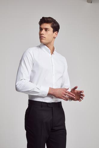 Ds Damat Slim Fit Beyaz Armürlü Gomlek - 8682060143792 | D'S Damat