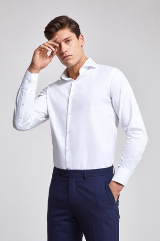 Ds Damat Slim Fit Beyaz Armürlü Gomlek - 8682060144249 | D'S Damat