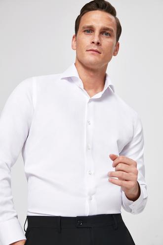 Ds Damat Slim Fit Beyaz Armürlü Gomlek - 8682060144782 | D'S Damat