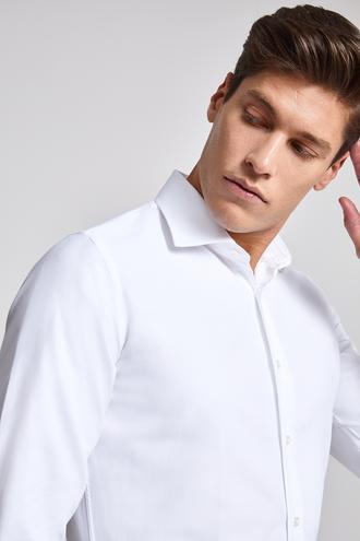 Ds Damat Slim Fit Beyaz Armürlü Gömlek - 8682060145628 | D'S Damat