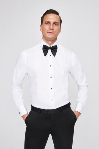 Ds Damat Slim Fit Beyaz Düz Gomlek - 8682060145949 | D'S Damat