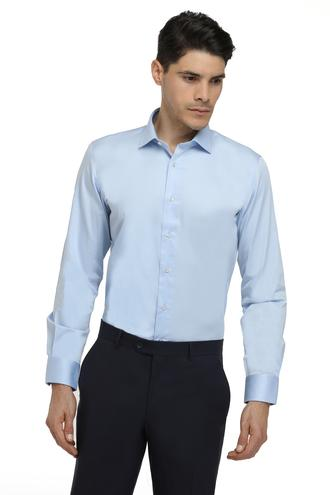 Ds Damat Slim Fit Mavi Düz Gomlek - 8682060151476 | D'S Damat