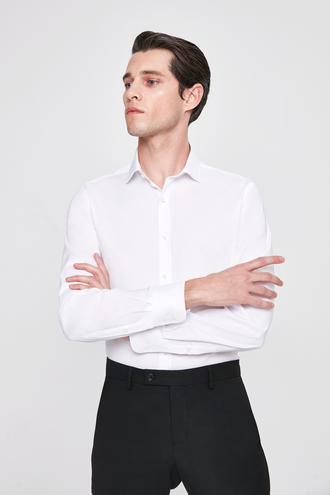 Twn Slim Fit Beyaz Armürlü Gomlek - 8682060164056 | D'S Damat