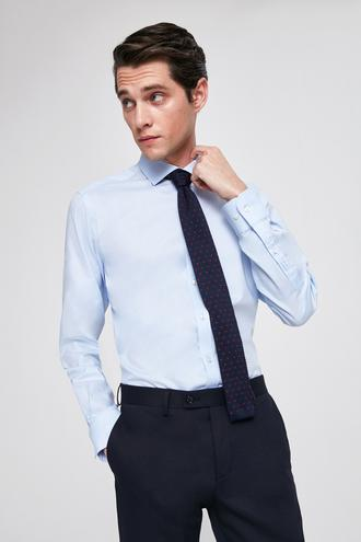 Twn Slim Fit Mavi Armürlü Gomlek - 8682060164223 | D'S Damat