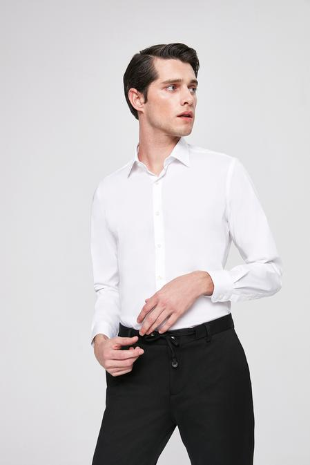 Twn Slim Fit Beyaz Düz Stretch Gömlek - 8682445302318 | D'S Damat