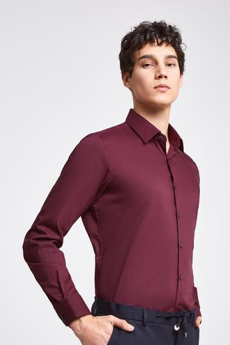 Twn Slim Fit Bordo Düz Stretch Gömlek - 8682060164872 | D'S Damat