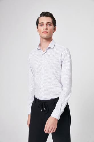 Twn Slim Fit Beyaz Baskılı Gomlek - 8682060164995 | D'S Damat