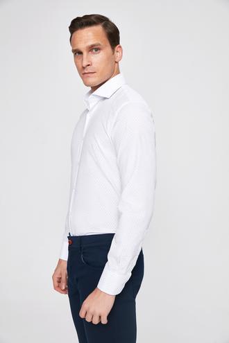 Ds Damat Slim Fit Beyaz Armürlü Gömlek - 8681779849971 | D'S Damat