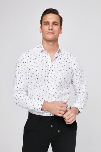Twn Slim Fit Beyaz Baskılı Gomlek - 8681779787143 | D'S Damat